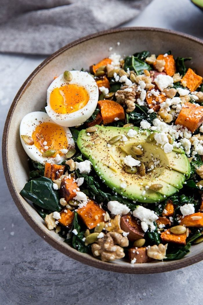salade d automne facile a faire oeuf avocat patates douces frommage