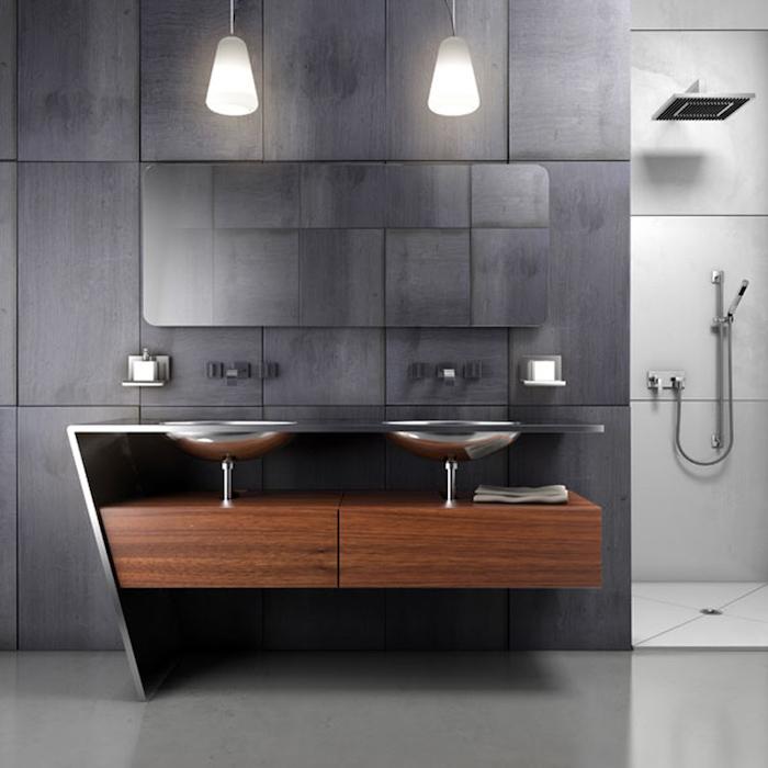 salle d eau moderne deux lavabos sur un commode carrelage en gris anthracite