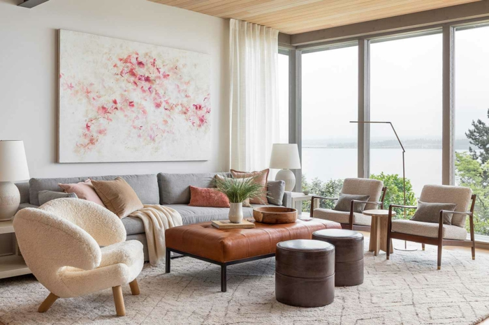 salle de sejour style scandinave décoration blanc gris et bois fauteuil style annee 60
