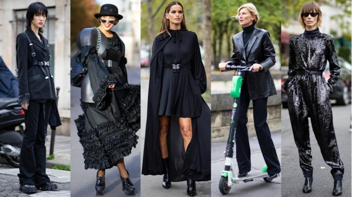 semaine de la mode a paris tenues noires tenue elegante parisienne ensemble tailleur femme chic
