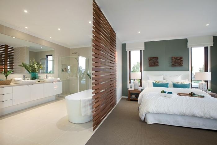 separation chambre salle de bain photos bois foncé baignoire peinture murale vert foncé spots led cabine de douche