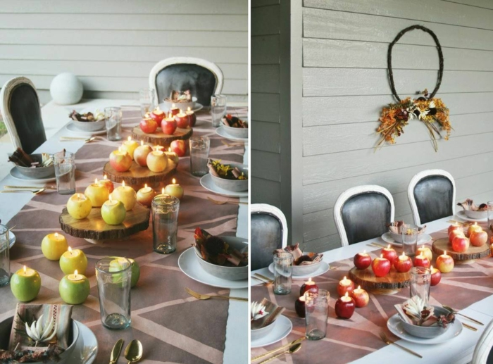 simple déco avec pommes et bougies dedans activité manuelle automne deco d automne thème automne