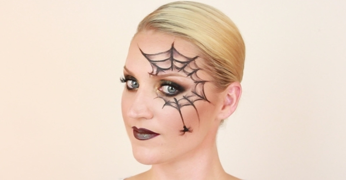 smoky yeux idée maquillage yeux bleus fards paupières orange toile d araignée dessin facile ombres dorés crayon yeux noir