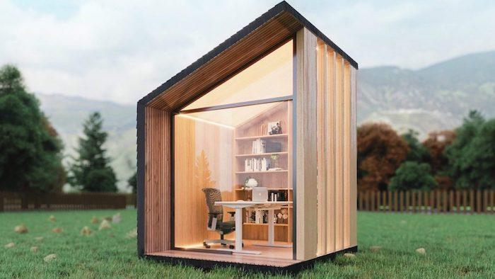 studio de jardin 20m2 batiment isolee dans un cour sur l herbe avec un toit en biais