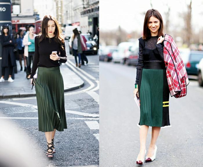 style de la rue, look avec jupe plissée verte et chemise noire en dentelle