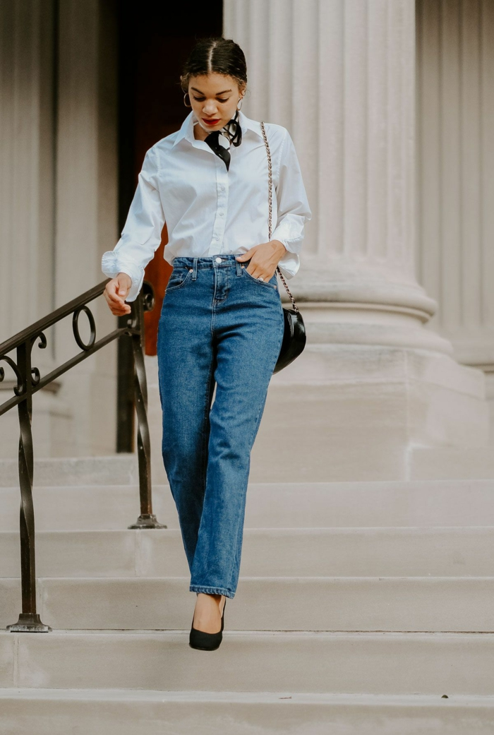style parisienne chouette idée comment s habiller en automne chemise blanche jean droit