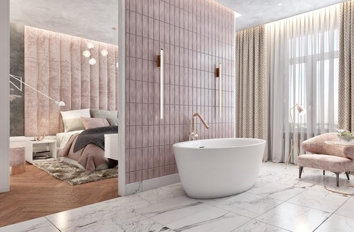 suite parentale salle de bain design intérieur moderne carrelage marbre parquet bois clair baignoire autoportante blanche
