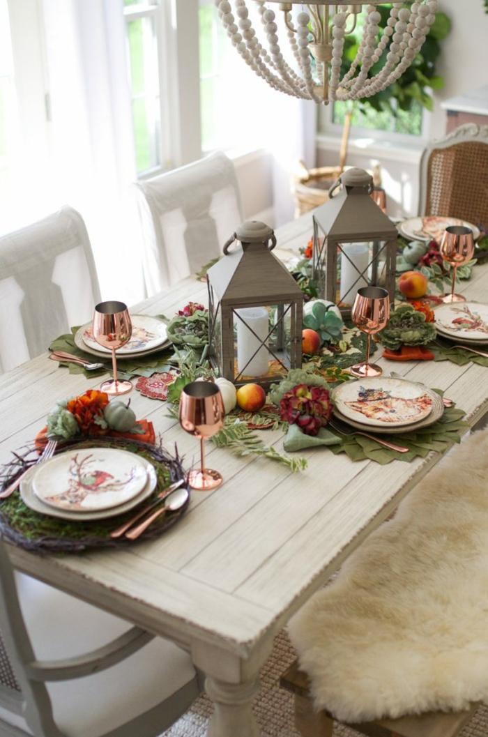 superbe table salle a maner lustre bougies activité sur l automne deco table d automne la plus belle décoration