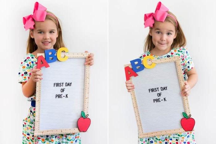 tableau écolier avec encadrement de règles lettres alphabet colorés et pomme en bois rouge bricolage facile et rapide et utile pour enfant en matenrelle