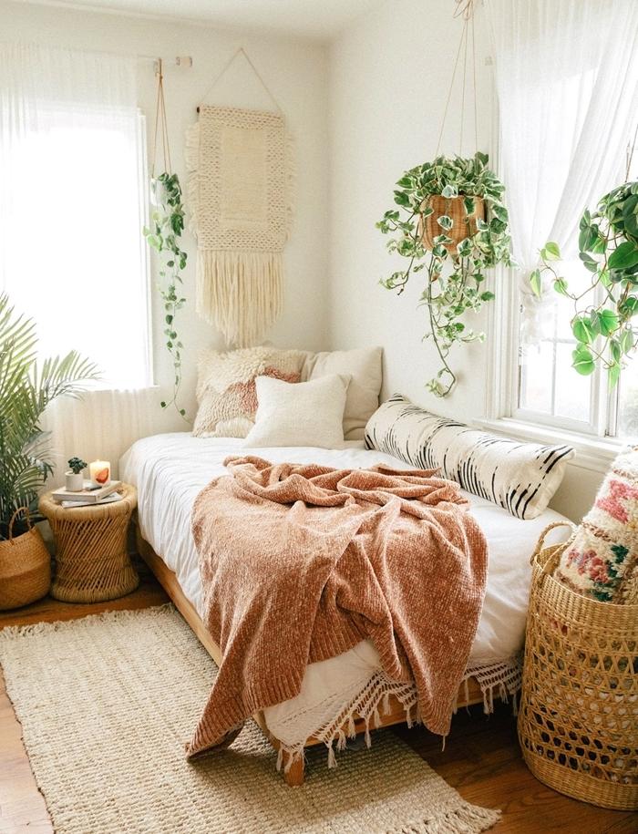 tapis franges panier tressé suspension macramé deco chambre boheme plante verte suspendue déco lit cocooning plaid franges déco murale bohème