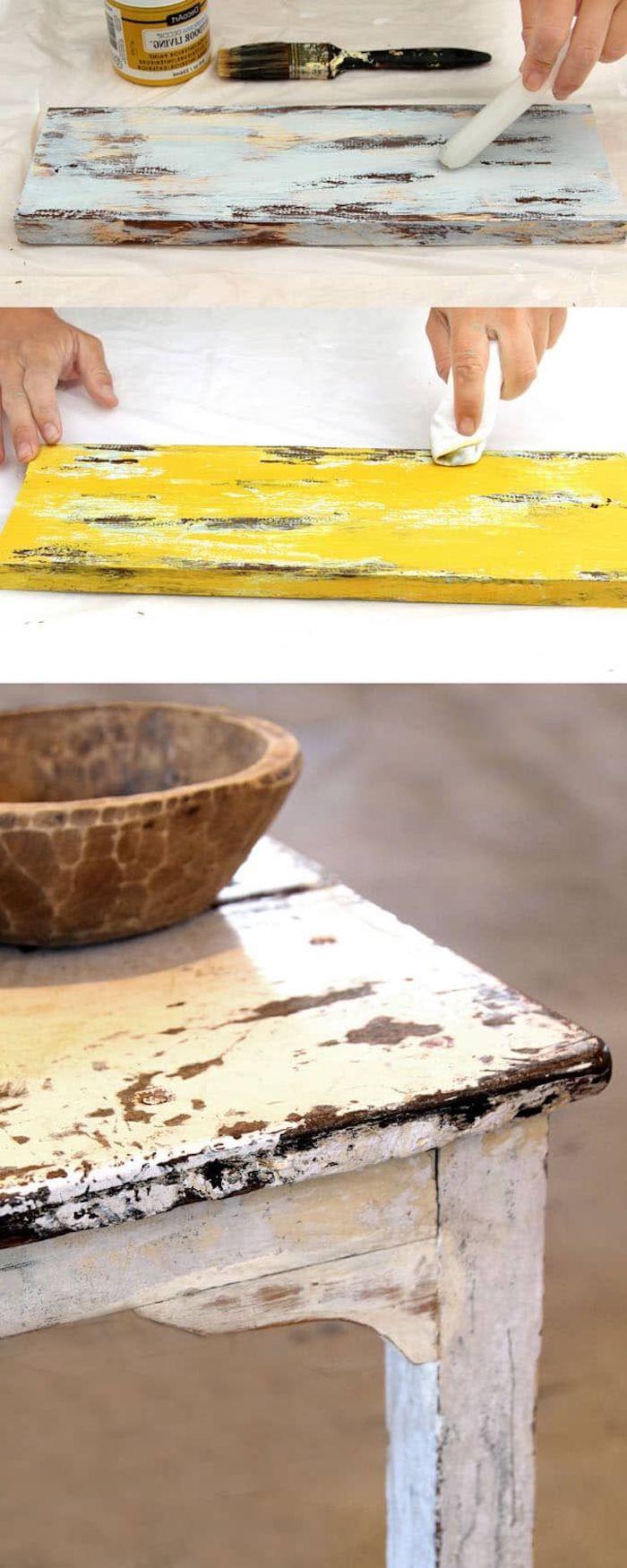 technique de customiser un meuble ancien usage de vaseline table élimé en bois blanche
