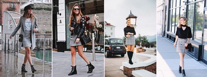 tenue automne femme avec jupe a motifs carreaux prince de galles idees comment assortir les couleurs de ses vetements mode femme