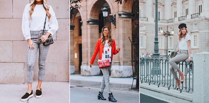 tenue avec pantalon a motifs carreaux comment bien s habiller automne femme chaussures style vestimentaire casual chic femme