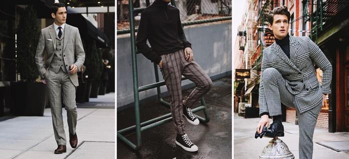 tenue homme style mode imprime prince de galles tailleur homme blazer pantalon motif carreaux style vestimentaire homme