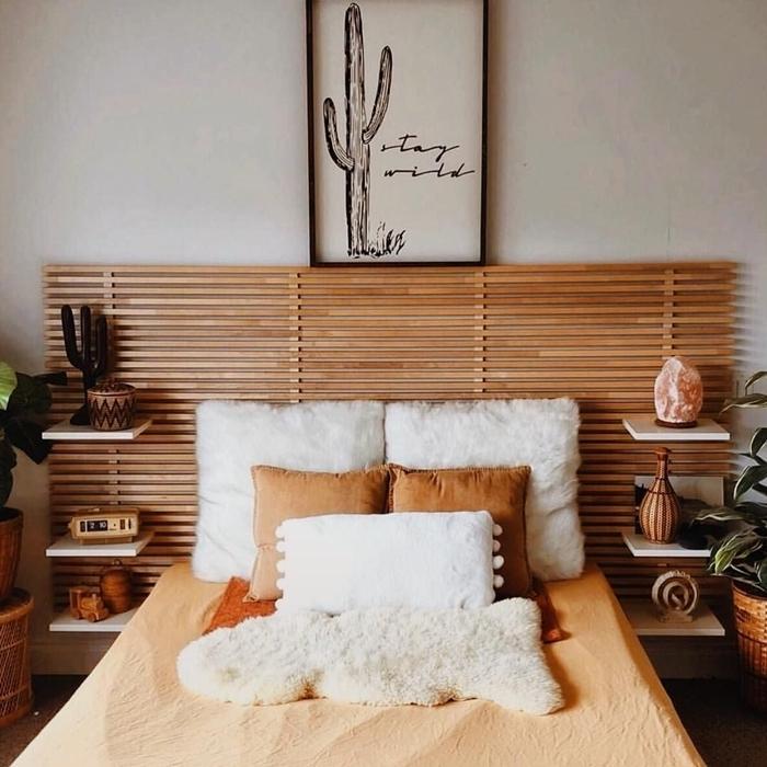 tete de lit avec chevet intégré en bois et blanc décoration bohème chic chambre enfant neutre cache pot tressé objets bois