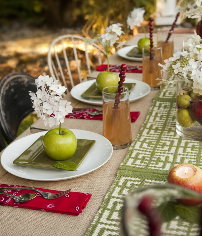 thème automne deco table d automne deco recup originales idées jardin originale idee deco vert et rouge