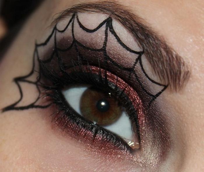 toile d araignée dessin facile à faire avec maquillage visage femme fards à paupières brillants smoky yeux ombres marron