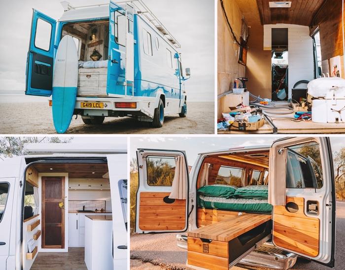 travaux transformation vehicule transport en camping car homologation fourgon decoration interieure lit meubles