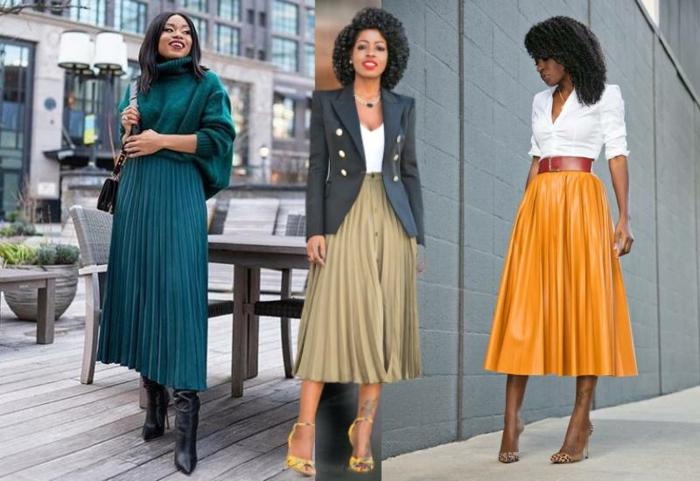 trois idées de tenue avec la longue jupe plissee inspiration tenue jupe chic et tendance comment porter une jupe longue plissée