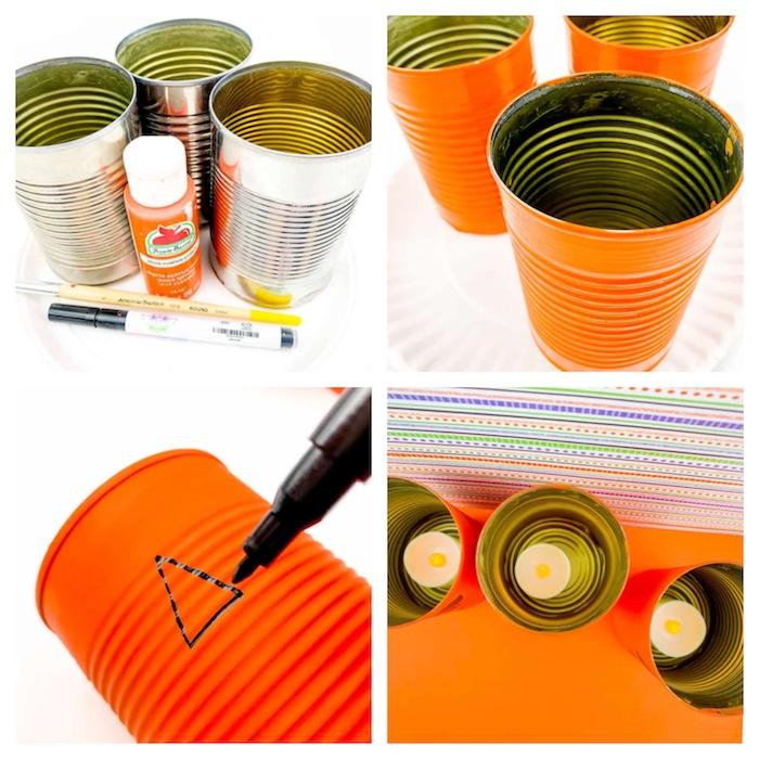 tuto décoration halloween à fabriquer dans cagette de bois et palette recyclée motif jack o lantern