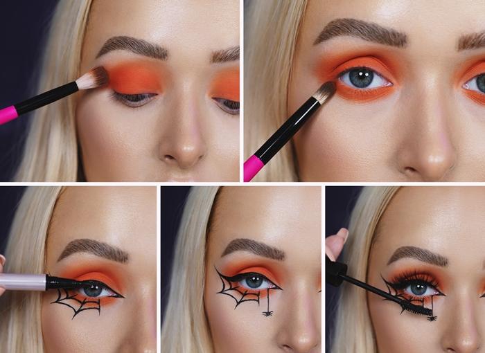 tutoriel maquillage araignee facile toile dessin sur visage crayon eye liner noir deguisement halloween facile femme