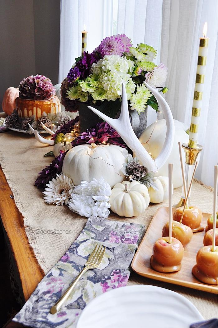 violet et blanc deco chemin de table lin deco d automne activité manuelle automne idées deco a faire soi meme
