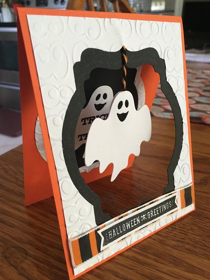 activités manuelles halloween diy carte joyeux halloween bricolage automne facile papier blanc relief fil fantôme