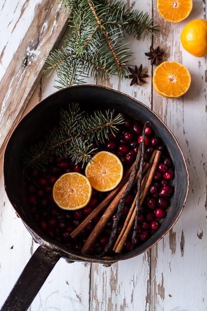 activité manuelle noel pot pourri en batonnets de cannelle canneberges oranges et brins de pin