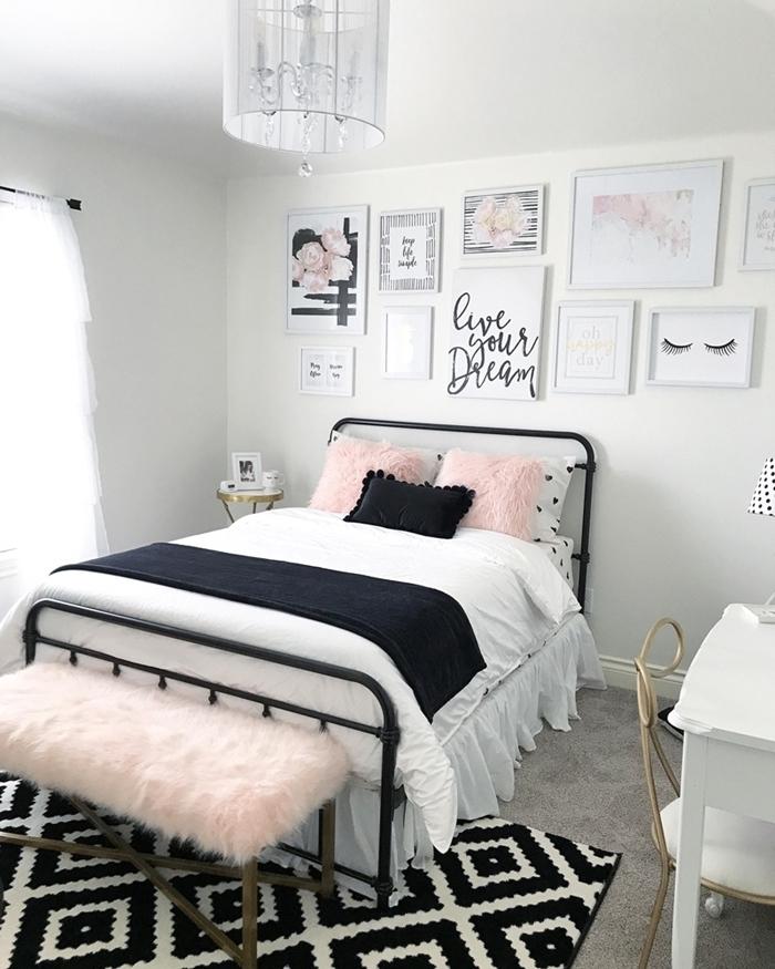 aménagement chambre 10m2 style minimaliste déco couleurs chambre gris et blanc avec accents noir et roses