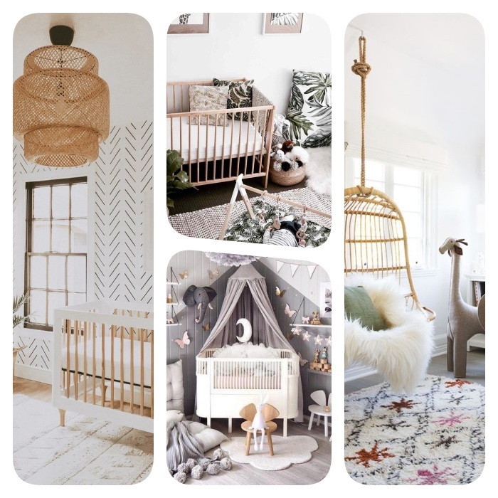 aménagement chambre bébé cocooning avec tapis cocooning suspension exotique lit bébé cocooning ciel de lie mobilier enfant bois