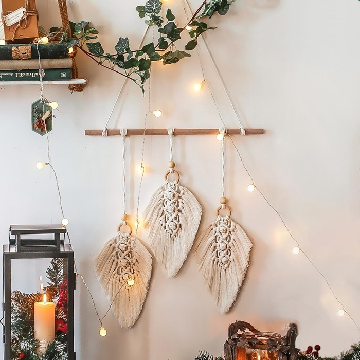 apprendre a faire une suspension en macramé décoration chambre bohème diy étagère bois et corde feuille macramé