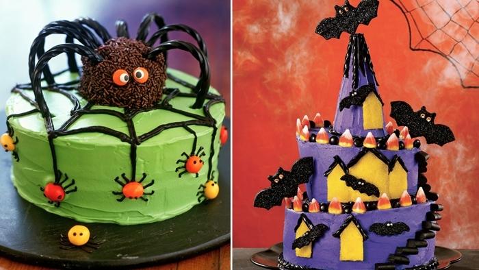 araignée au chocolat sprinkles bâtonnets sucre toile d araignée glaçage noir gateau halloween araignée ganache verte