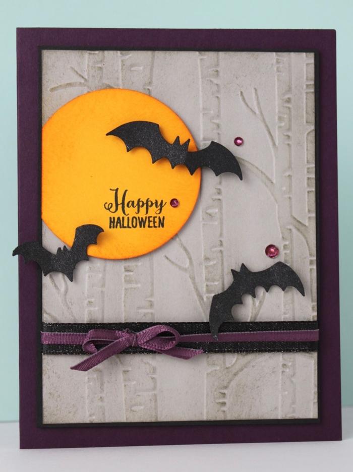 art papier création carte diy activité manuelle halloween fabrication carte joyeux halloween chauve souris en papier noir