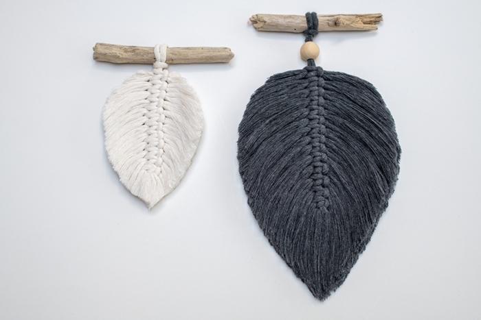 bâtonnet bois mini déco murale corde macramé gris anthracite mini feuille fil apprendre a faire une suspension en macramé