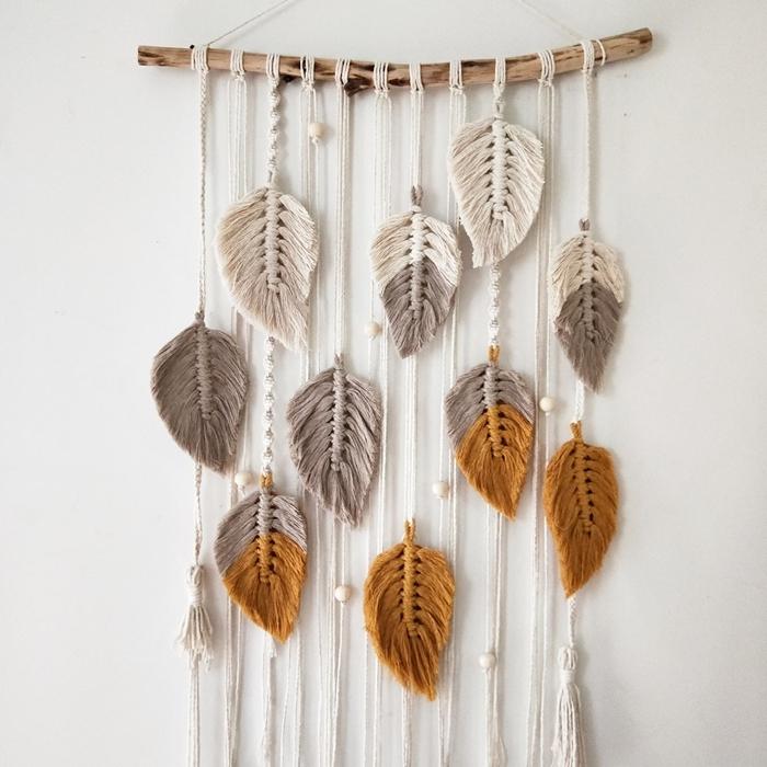 bois flotté diy suspension macramé facile pour débutant plumes en corde macramé perles bois blanc déco murale bohème