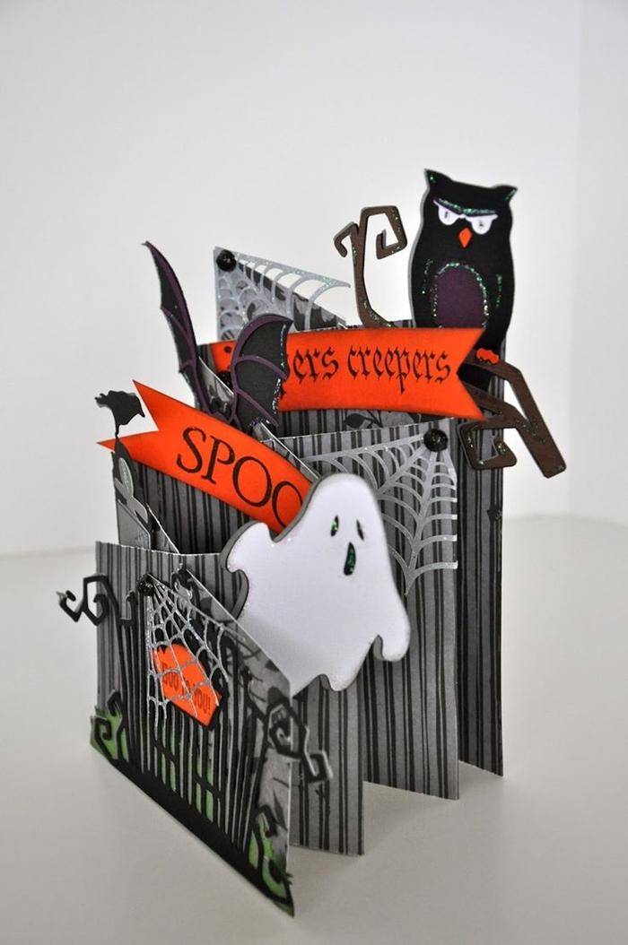 bricolage activité manuelle facile diy carte invitation halloween figurine hibou maison hantée art pliage papier origami facile