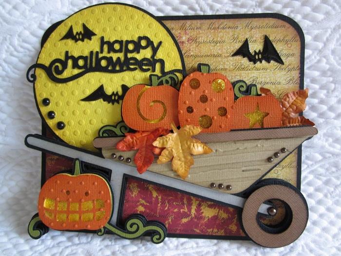 bricolage halloween facile paysage automne 3d carte pleine lune papier jaune joyeux halloween citrouille chauve souris