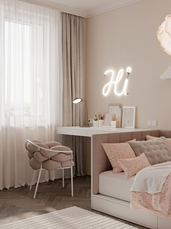 bureau design blanc chaise coussin noeuds rose poudré peinture chambre ado fille rideaux taupe lampe bureau
