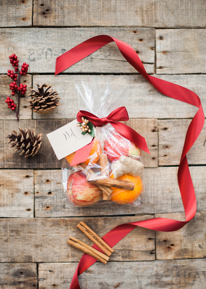 cadeau de noel a fabriquer facile sachet transparent orange pomme cannelle gingembre pomme de pin decoration ruban