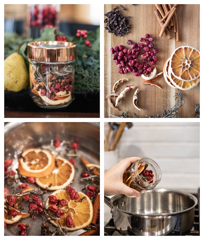 cadeau de noel a faire soi meme pot pourri canneberges cannelle tranches de citron et d orange avec des épices de noel