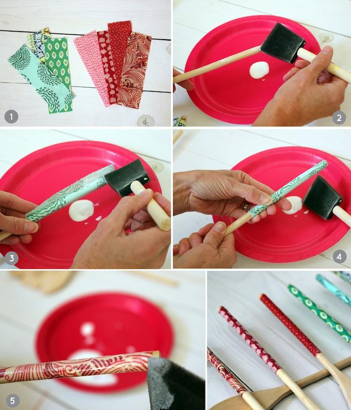 cadeau fete des meres maternelle recyclage tissus ustensiles décorés de tissu à offrir en cadeau