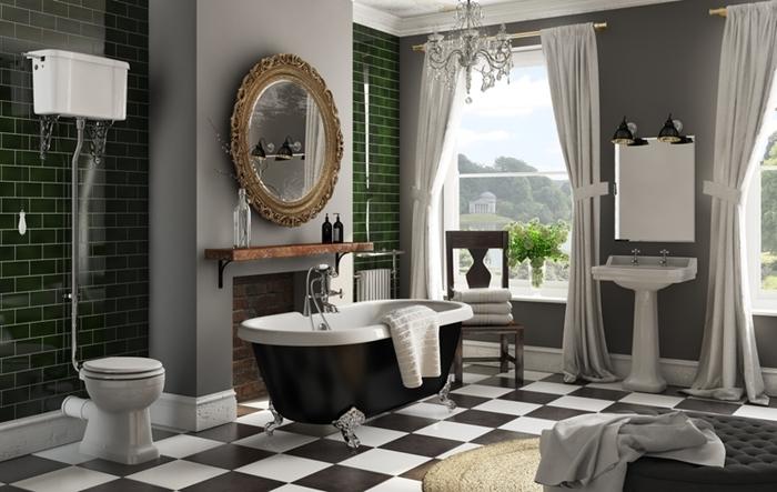 carrelage art deco metro vert foncé revêtement sol dalles domino noir et blanc carreaux baignoire noir et blanc