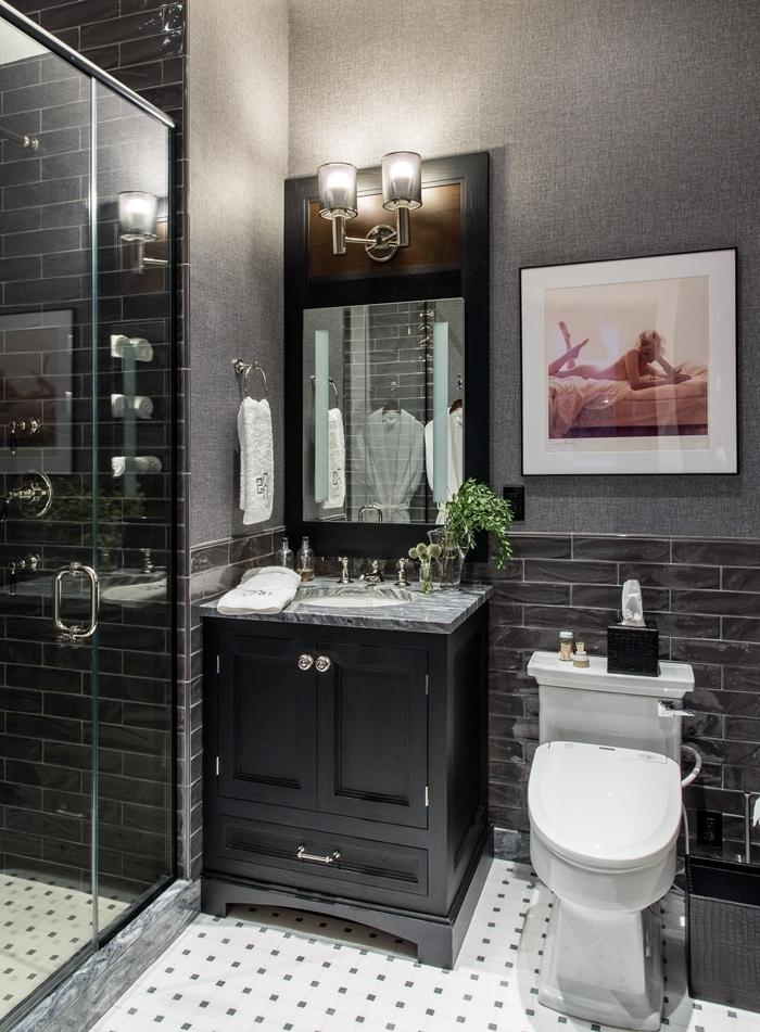 carrelage gris anthracite design salle de bain motif art deco cabine de douche verre miroir applique murale évier marbre gris