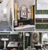 carrelage mural salle de bain style retro 1920s interieur design tendance couleurs carrelage vert fonce accents laiton