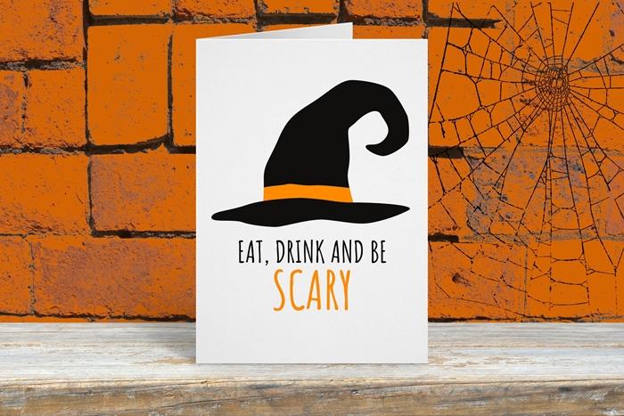 carte anniversaire halloween à imprimer motif capeline sourcière lettres joyeux halloween célébration fête octombre