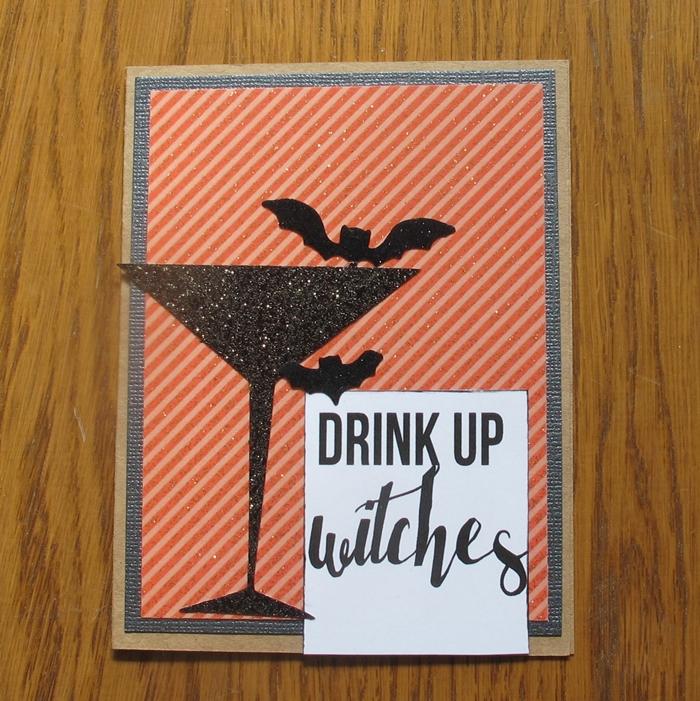 carte d halloween papier rayures oranges verre cocktail papier noir glitter silhouette chauve souris noir carte amusante diy