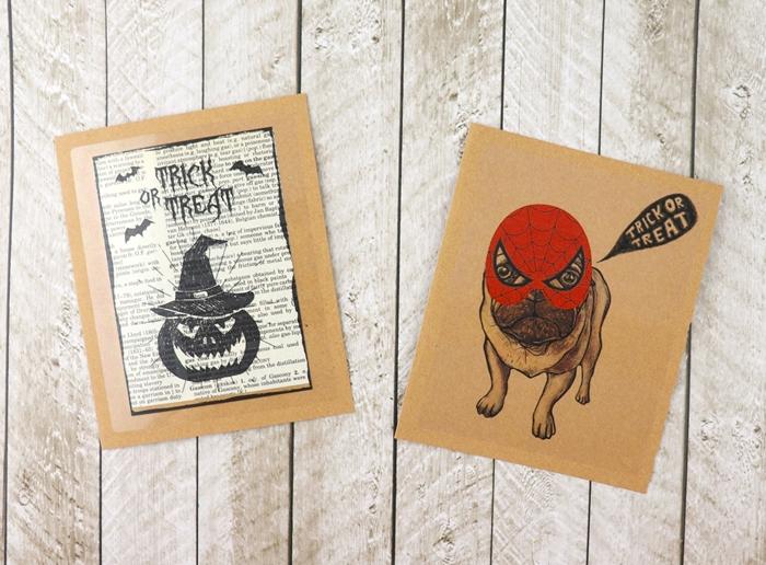 carte halloween à faire soi même chien déguisé dessin à imprimer sur papier scrapbooking page livre dessin motifs lanterne jack o