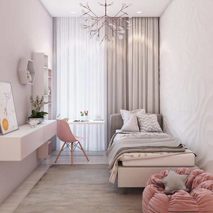 chambre ado fille petit espace design intérieur style moderne revêtement mural panneau relief bureau blanc chaise rose
