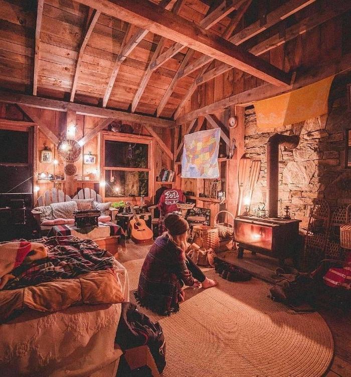 charnière rustique ossature apparente mobilier rustique vntage tapis rond idee deco romantique deco chalet chic