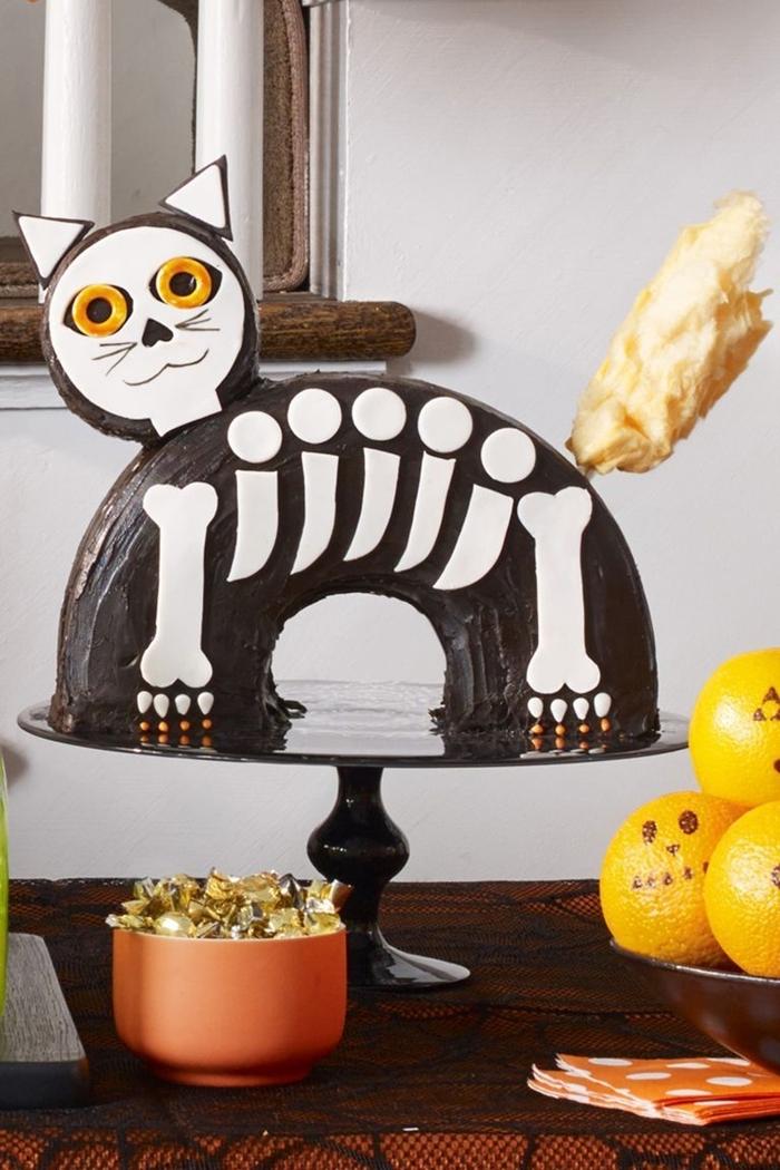 chat noir sucre squellette chocolat fondu décoration art pâtisserie gateau halloween facile cake chocolat